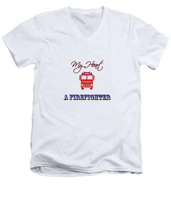 My Heart Belongs To A Firefighter Men's V-Neck T-Shirt