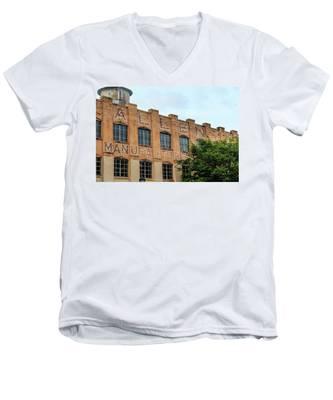 Old Mill Building In Buford Men's V-Neck T-Shirt