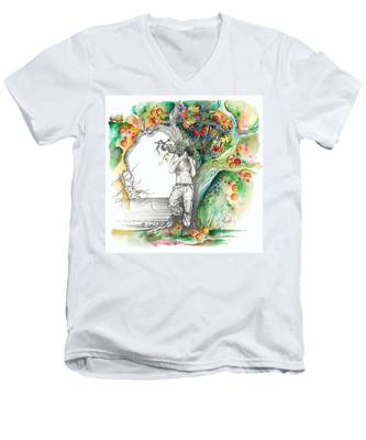 Open Your Eyes -the World Is Changing Men's V-Neck T-Shirt
