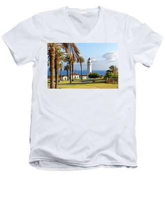 Point Vicente Lighthouse Men's V-Neck T-Shirt