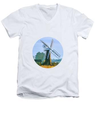 Priory Windmill Men's V-Neck T-Shirt
