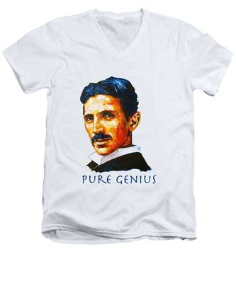 Pure Genius - Tesla Men's V-Neck T-Shirt