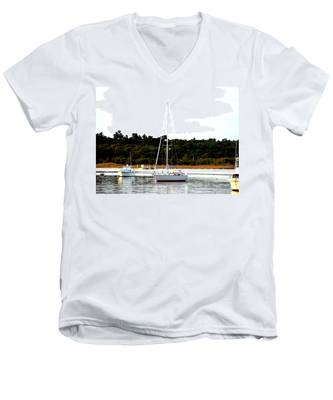 Sail Boat At Anchor  Men's V-Neck T-Shirt