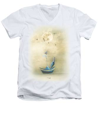 Sailing By The Moon Men's V-Neck T-Shirt
