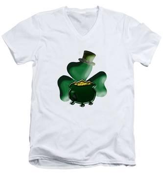 Shamrock And Pot Of Gold Men's V-Neck T-Shirt