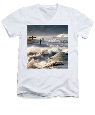 Waiting By Mike-hope Men's V-Neck T-Shirt