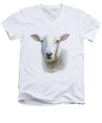 Watercolor Sheep Men's V-Neck T-Shirt