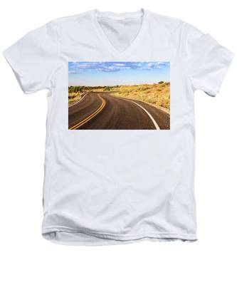 Men's V-Neck T-Shirt featuring the photograph Winding Desert Road At Sunset by Kyle Lee