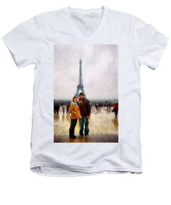 Winter Honeymoon In Paris Men's V-Neck T-Shirt