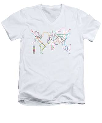 World Metro Tube Subway Map Men's V-Neck T-Shirt