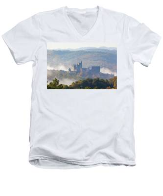 Chateau Beynac In The Mist Men's V-Neck T-Shirt