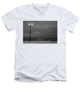 Men's V-Neck T-Shirt featuring the photograph Before Dawn On The Boards by Kyle Lee