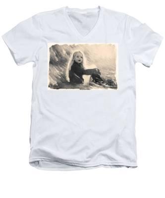 Girl In Jodpurs Men's V-Neck T-Shirt