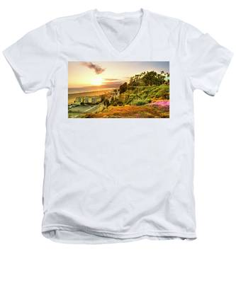 Orange Haze At Sunset Men's V-Neck T-Shirt