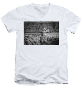 Men's V-Neck T-Shirt featuring the photograph Rocky Desert Formation by Kyle Lee
