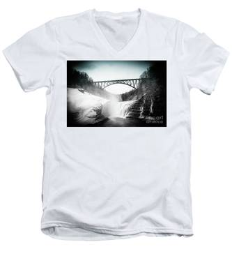 Upper Falls At Letchworth State Park Men's V-Neck T-Shirt