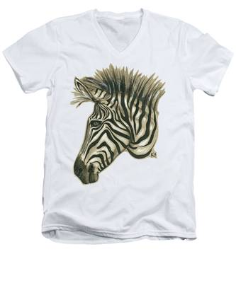 Zebra Profile Men's V-Neck T-Shirt