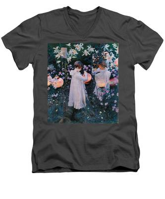 Carnation Lily Lily Rose Men's V-Neck T-Shirt