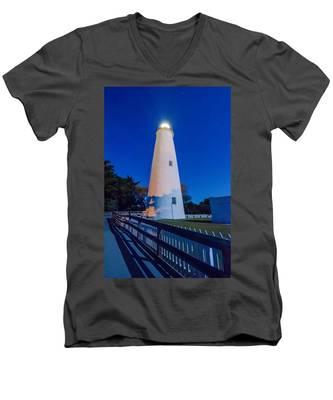 The Ocracoke Lighthouse On Ocracoke Island On The North Carolina Men's V-Neck T-Shirt