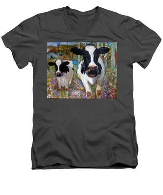 Up Front Cows Men's V-Neck T-Shirt