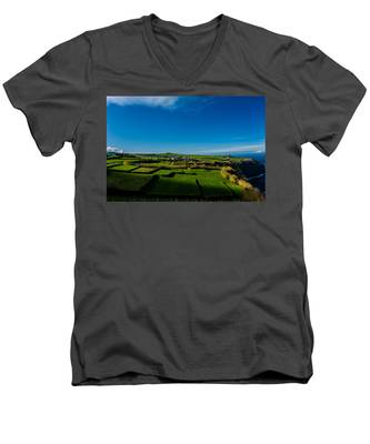 Men's V-Neck T-Shirt featuring the photograph Fields Of Green And Yellow by Joseph Amaral