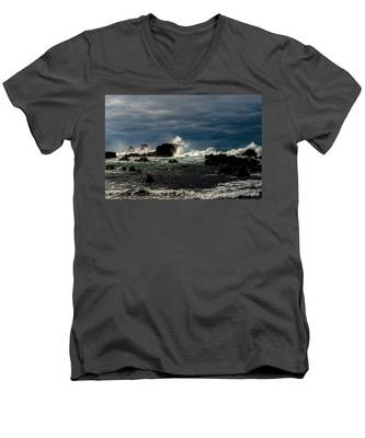 Men's V-Neck T-Shirt featuring the photograph Stormy Seas And Skies  by Joseph Amaral