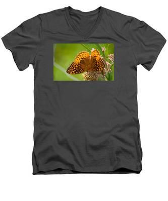 Great Spangled Fritillary Men's V-Neck T-Shirt