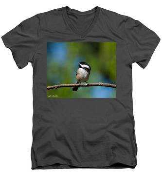 Black Capped Chickadee Perched On A Branch Men's V-Neck T-Shirt