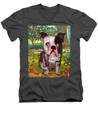 Bulldog Men's V-Neck T-Shirt