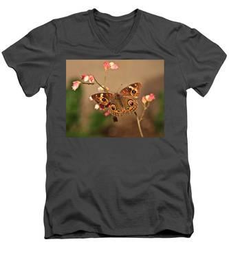 Butterfly On Pink Men's V-Neck T-Shirt