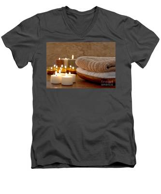 Candles And Towels In A Spa Men's V-Neck T-Shirt