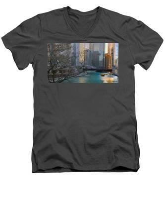 Chicago River Sunset Men's V-Neck T-Shirt