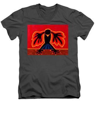 Crow Rising Original Painting Men's V-Neck T-Shirt