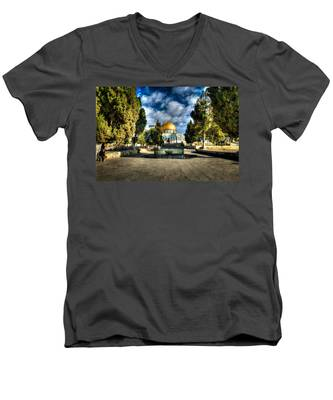 Dome Of The Rock Hdr Men's V-Neck T-Shirt