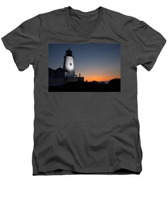 Men's V-Neck T-Shirt featuring the photograph Dramatic Lighthouse Sunrise by Kyle Lee