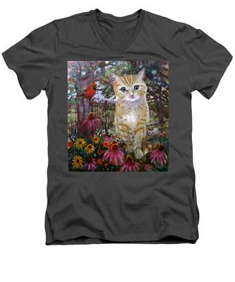 Front Yard Kitty Men's V-Neck T-Shirt