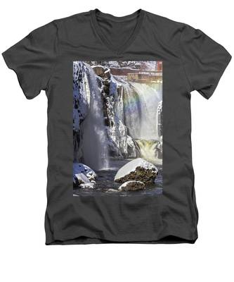 Great Falls And A Rainbow Men's V-Neck T-Shirt