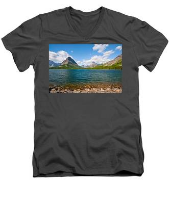 Grinnell Point From Swiftcurrent Lake Men's V-Neck T-Shirt