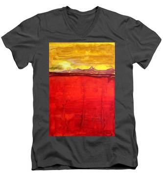 Mojave Dawn Original Painting Men's V-Neck T-Shirt