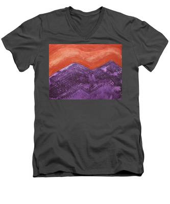 Mountain Majesty Original Painting Men's V-Neck T-Shirt