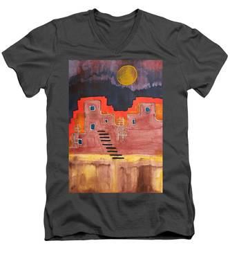 Pueblito Original Painting Men's V-Neck T-Shirt