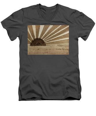 Sepia Sunset Original Painting Men's V-Neck T-Shirt
