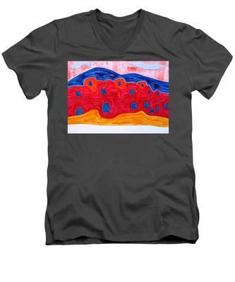 Soft Pueblo Original Painting Men's V-Neck T-Shirt