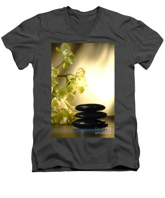 Stone Cairn And Orchids Men's V-Neck T-Shirt