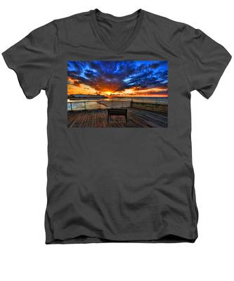 sunset at the port of Tel Aviv Men's V-Neck T-Shirt
