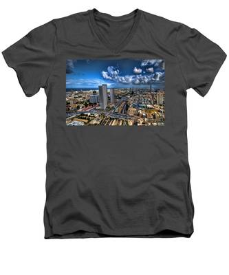 Tel Aviv Center Skyline Men's V-Neck T-Shirt