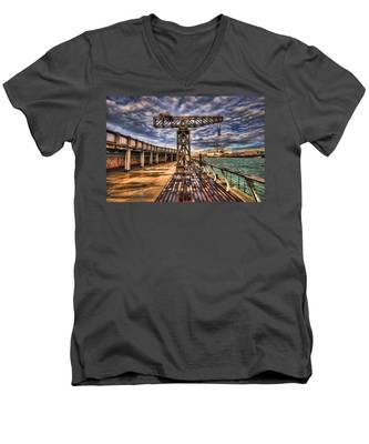 Tel Aviv Port At Winter Time Men's V-Neck T-Shirt