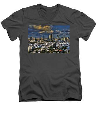 Tel Aviv Skyline Fascination Men's V-Neck T-Shirt