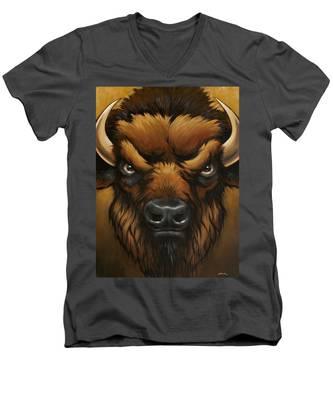 The Mighty Bison Men's V-Neck T-Shirt