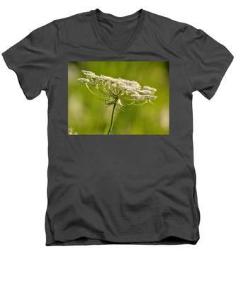 Lacy White Flower Men's V-Neck T-Shirt